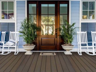 A porch made of composite deck material