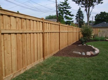 A wooden privacy fence